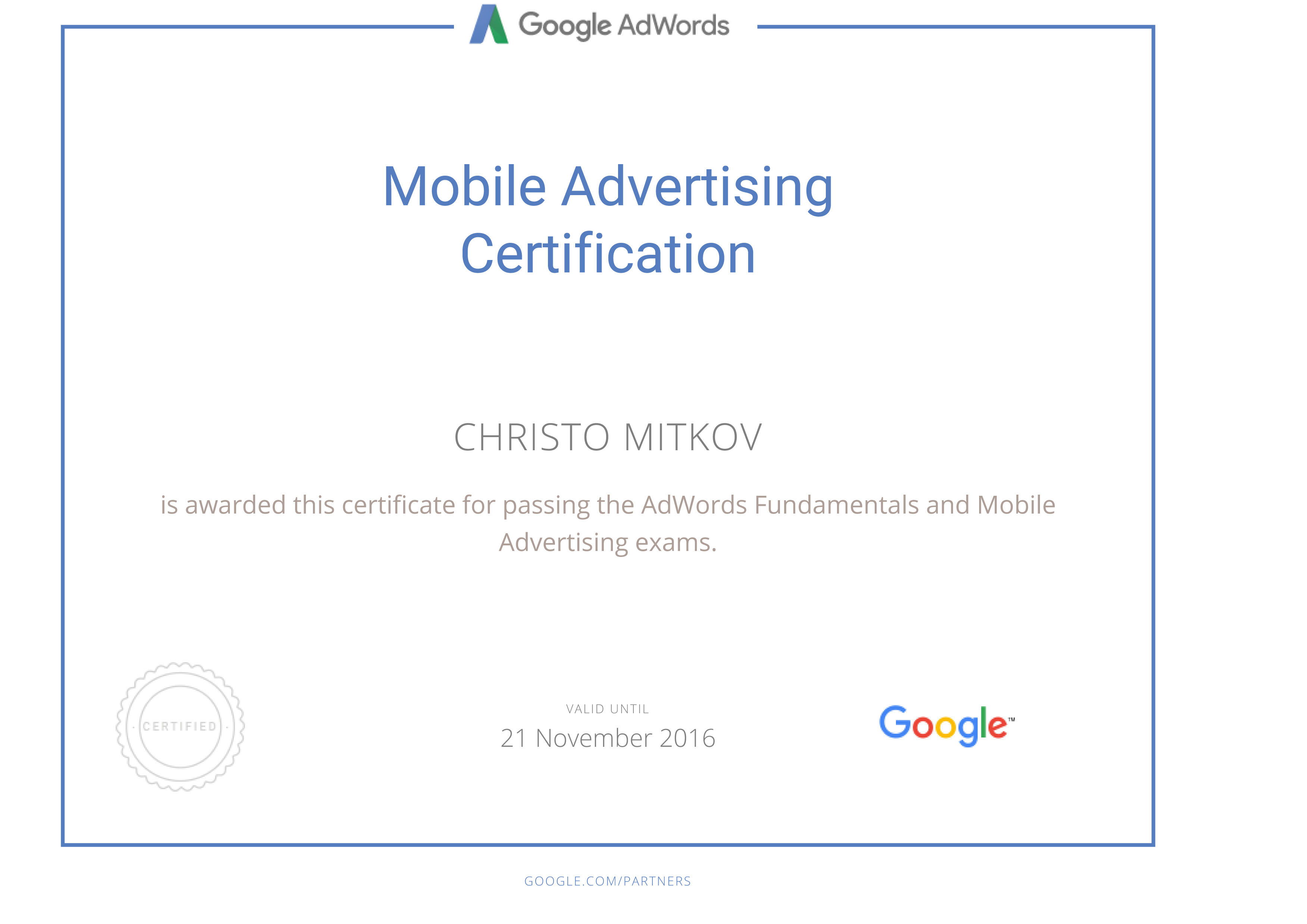 Google Adwords Mobile Advertising Certificate 2016